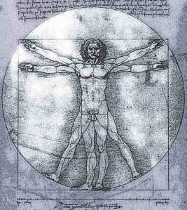 Image of the 'VITRUVIAN MAN' drawing by LEONARDO DA VINCI